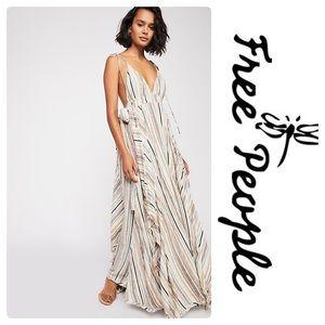 New Free People Heat Wave Maxi Dress Ivory Combo
